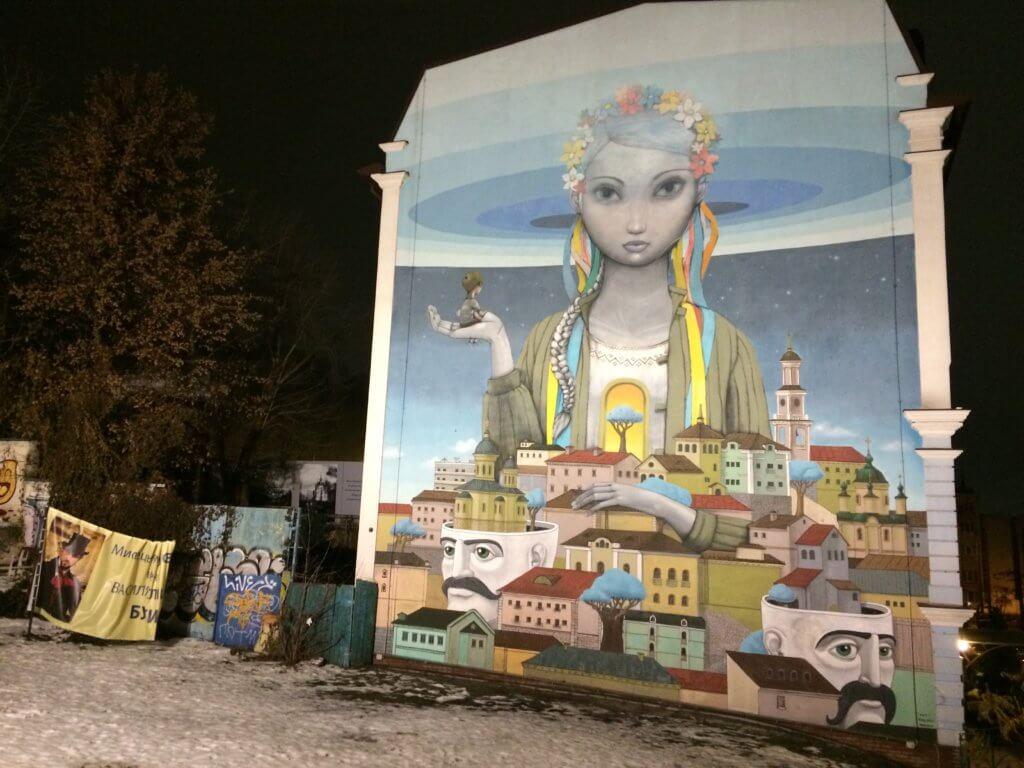 kijow, kyiv, kiev, ukraina, trip, podróże, para, we dwoje, zwiedzanie, zabytki, turysta, zima, mural, sztuka, streetart, graffiti