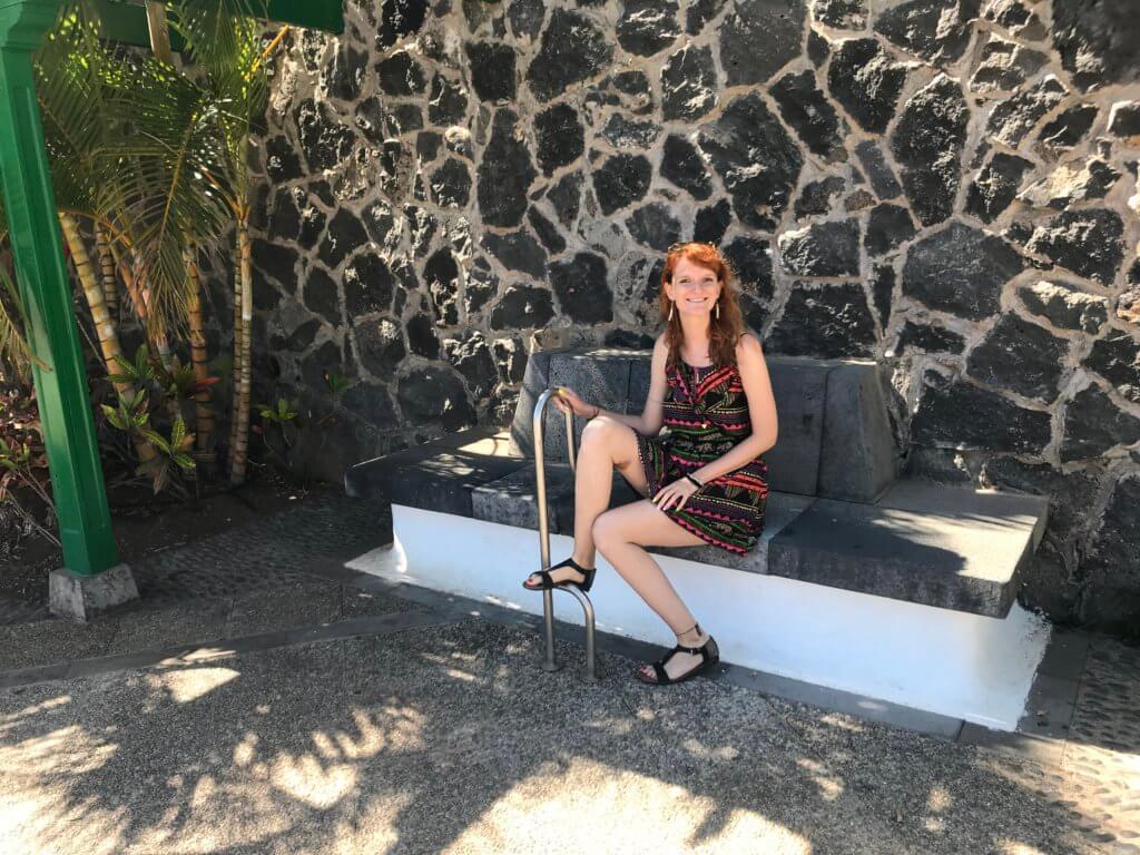 dziewczyna, ławka, palmy, kanary, stolica
