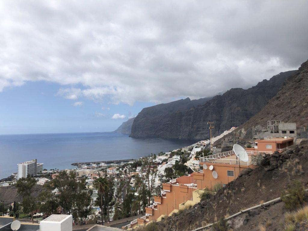 panorama, widok, skały, wielkie klify, ocean, woda, miasteczko, budynki, los gigantes