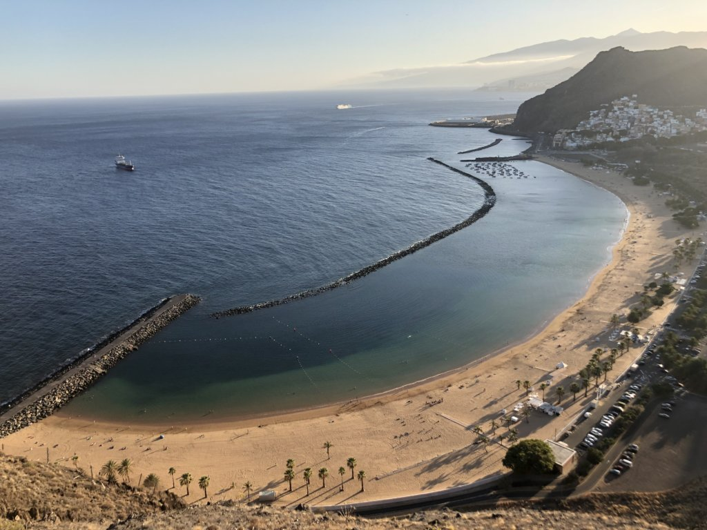 plaża, skały, góry, ocean, woda, zachód słońca, kanary, widok