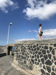 dziewczyna, mur, niebo, el medano, kanary
