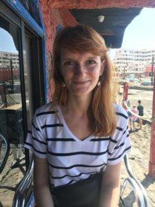 dziewczyna, uśmiech, plaża, restauracja, tapas, el medano, obiad