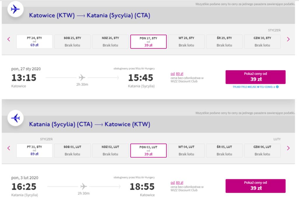 Przykładowe loty z Wizz Air