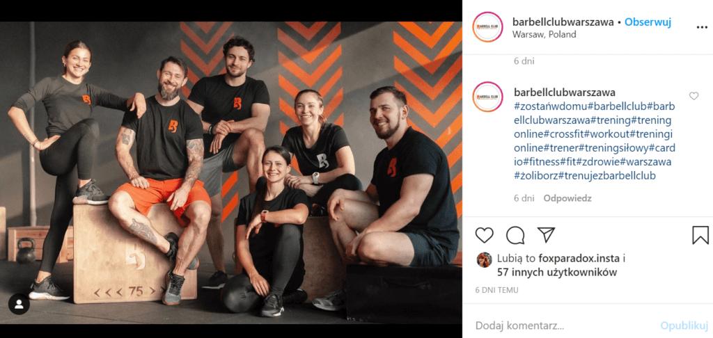 profil z instagrama, grupa trenerów personalnych